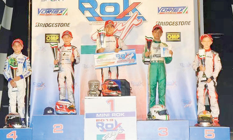 Another convincing win for young UAE Karting Star Rashid Al Dhaheri at Rok Cup Italia