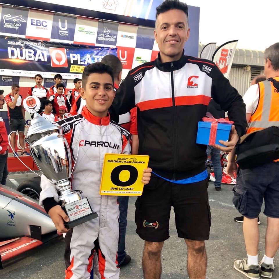 "Rashid Al Dhaheri makes history by collecting his record fifth ""O Plate"" at the Dubai Kartdrome"