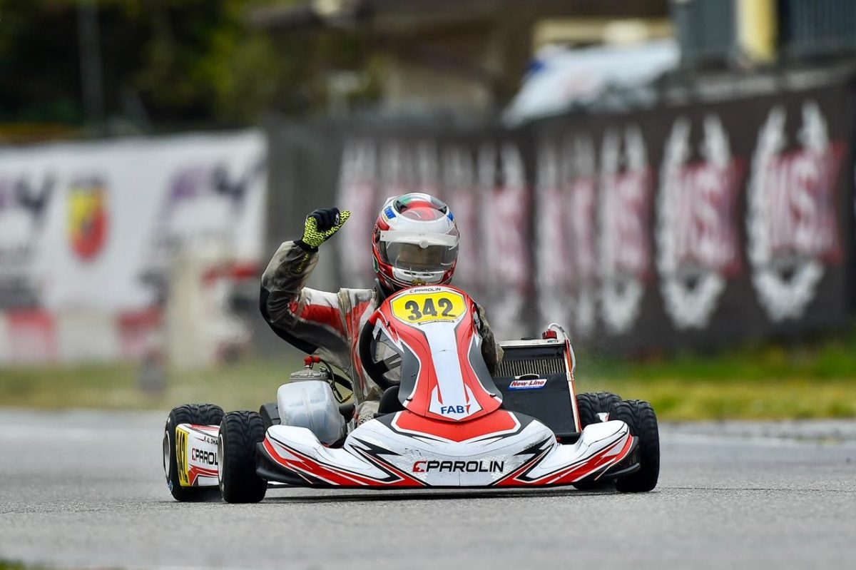 Rashid Al Dhaheri continues new racing season with sensational OK-Junior victory in wet conditions in WSK Euro Series